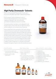 HONEYWELL Chromasolv Solvents Overview