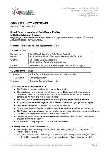GENERAL CONDITIONS - Királyi Napok Nemzetközi Néptáncfesztivál
