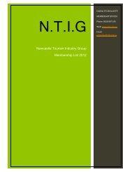 NTIG Membership List as of August 2012 - Newcastle Tourism ...