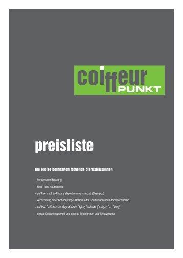 details siehe Preisliste - Coiffeur Punkt