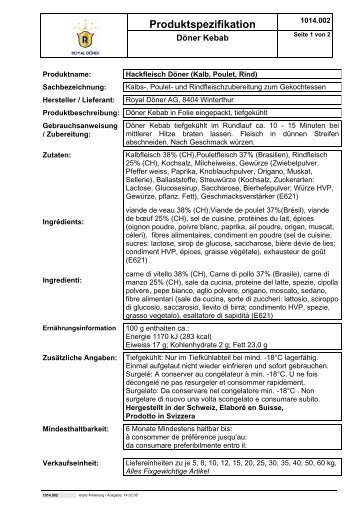 Produktspezifikation - Royal Döner AG
