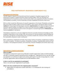 RISE PARTNERSHIP: READINESS COMPONENT FAQ