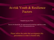 At-risk Youth & Resilience Factors - Vision Realization