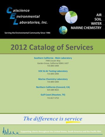 2012 Catalog of Services - Calscience