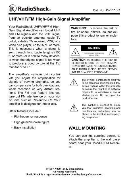 Transformer RadioShack 75 to 300 Ohm Coax TV FM VHF UHF Band Signal Splitter