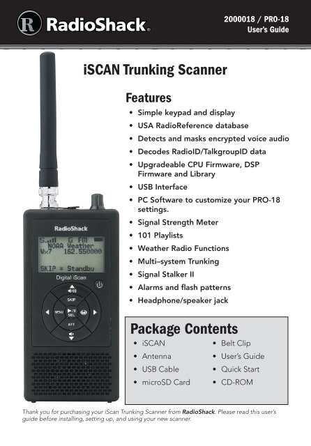 iSCAN Trunking Scanner Package Contents - Radio Shack