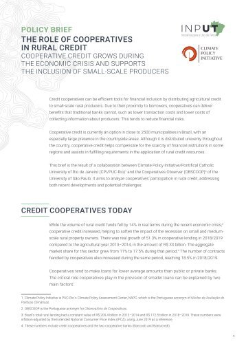 The Role of Cooperatives in Rural Credit