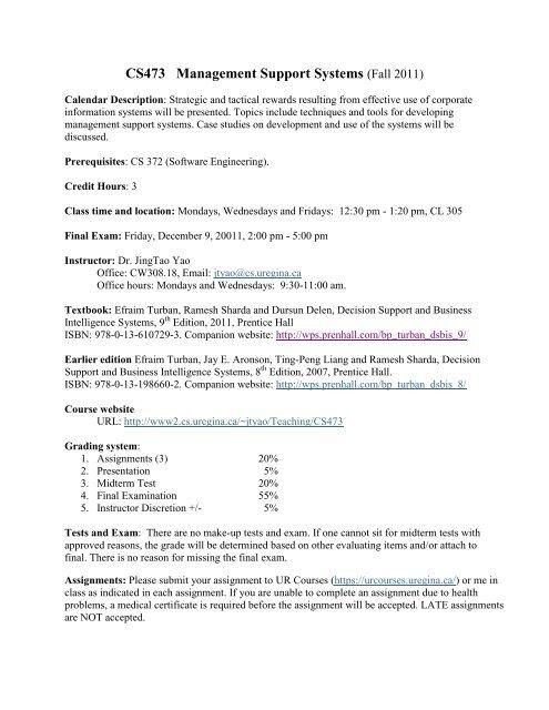 CS473 Management Support Systems - University of Regina