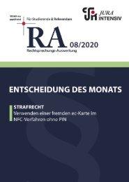 RA 08/2020 - Entscheidung des Monats