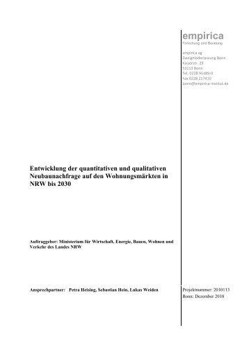 Entwicklung der quantitativen und qualitativen ... - Empirica