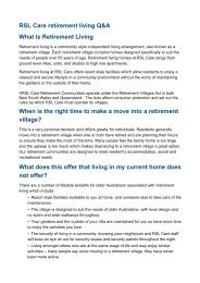 What is Retirement Living - RSL Care