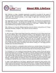 About RSL LifeCare - Retirement Villages
