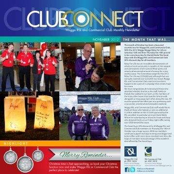 Wagga RSL and Commercial Club Monthly Newsletter NOVEMBER ...