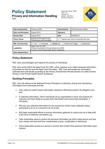 Policy Statement Privacy and Information Handling - RSL Care