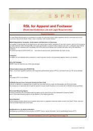 RSL for Apparel and Footwear (Restricted Substance List ... - Esprit