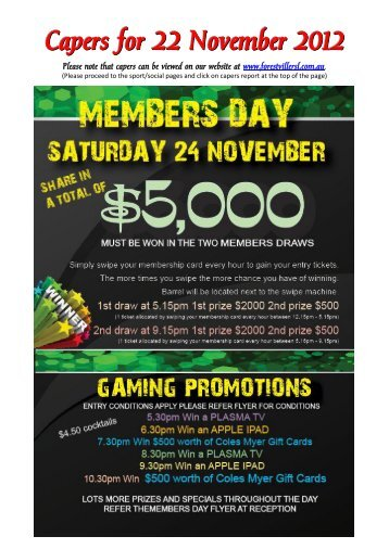 Capers for 22 November 2012 - Forestville RSL Club