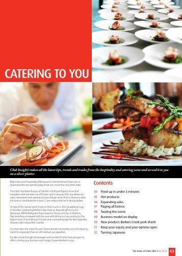 CATERING TO YOU - Clubs Queensland