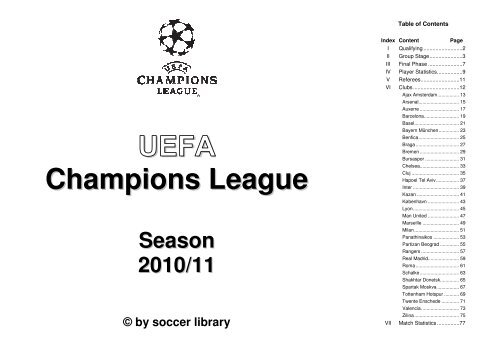 Uefa Champions Leaguee Season 2010 111 C By Soccer Library