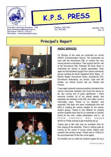 Principal's Report - Korumburra Primary School