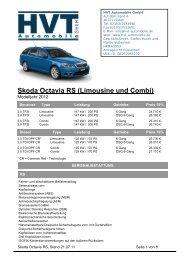 Skoda Octavia RS (Limousine und Combi) - HVT Automobile GmbH