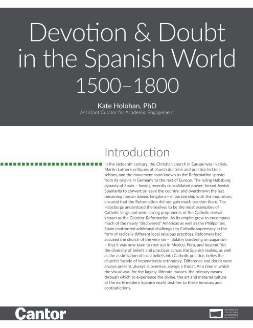 Devotion and Doubt in the Spanish World, 1500-1800