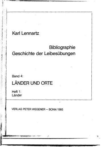 Karl Lennartz Bibliographie Geschichte der Leibesübungen ...