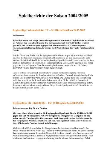 Spielberichte der Saison 2004/2005 - Rugby Club Hürth