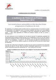 L'audience de l'Internet en France Septembre 2012 Les ...