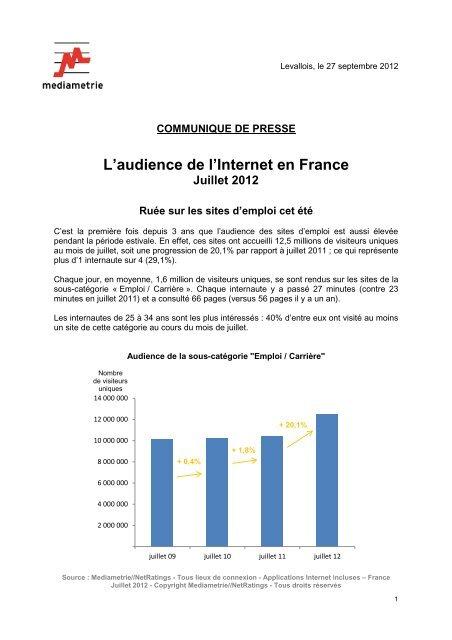 L'audience de l'Internet en France Juillet 2012