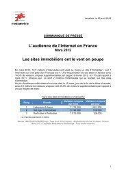 L'audience de l'Internet en France Mars 2012 Les sites immobiliers ...