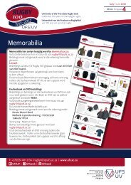RUGBY Memorabilia - Alumni - University of the Free State