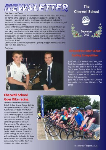 December 2010 Newsletter - The Cherwell School