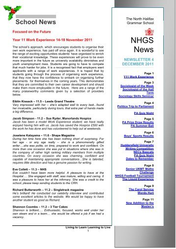 NHGS News - The North Halifax Grammar School