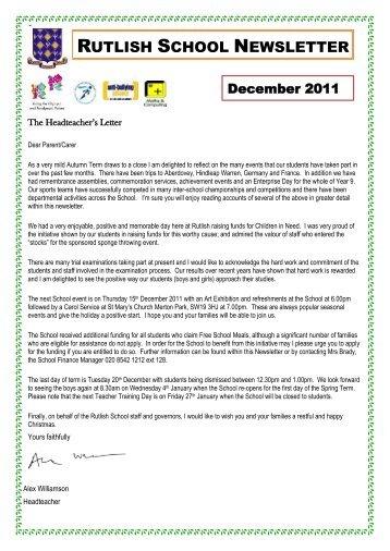 December 2011 - Rutlish School