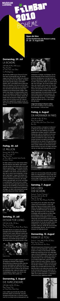 "Filmbar 2010 ""Bohème"" - Open-Air Kino auf der ... - Stadt Köln"