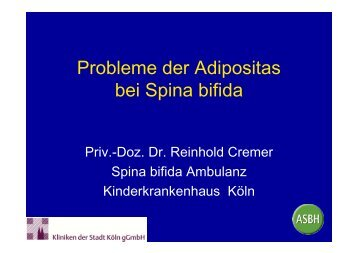 Probleme der Adipositas bei Spina bifida - ASbH