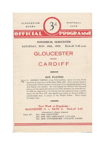 1953 programme - Gloucester Rugby Heritage