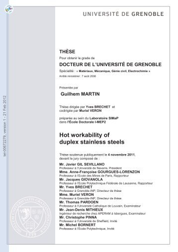 Forgeabilité des aciers inoxydables austéno-ferritiques