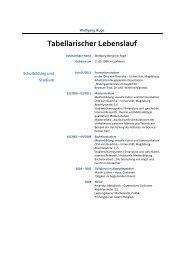 Tabellarischer Lebenslauf - Wolfgang Ruge