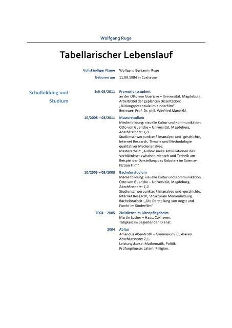 Tabellarischer Lebenslauf Wolfgang Ruge
