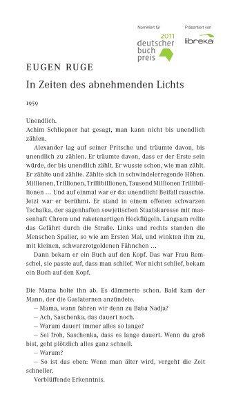 Eugen Ruge, In Zeiten des abnehmenden Lichts - Livres allemands