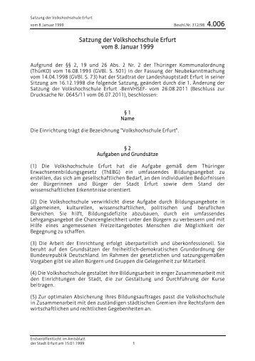 4.006 Satzung der Volkshochschule Erfurt vom 8. Januar 1999
