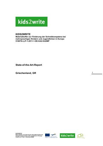 KIDS2WRITE State-of-the-Art-Report Griechenland, GR