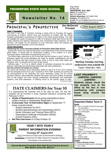 DATE CLAIMERS for Year 10 - Proserpine State High School