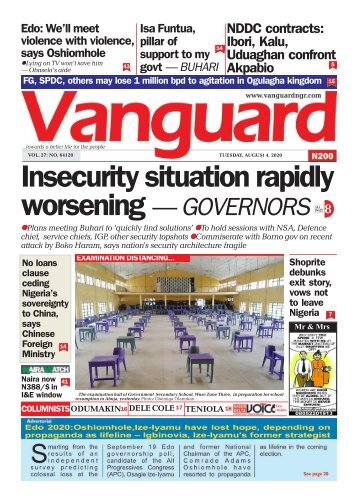 04082020 - Insecurity situation rapidly worsening — GOVERNORS