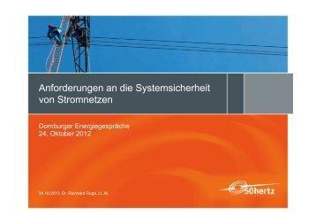 Anforderungen an die Systemsicherheit von Stromnetzen