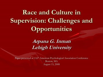 Race and Culture in Supervision - American Psychological ...