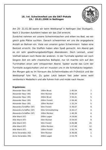 16. Int. Schwimmfest um die DAT-Pokale 19./ 20.01.2008 in ...