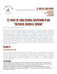 St. Rose of Lima School Reopening Plan