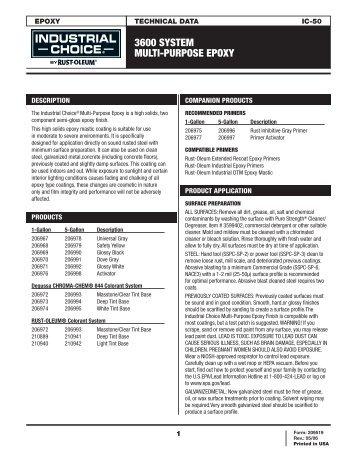 3600 SYSTEM MULTI-PURPOSE EPOXY - Rust-Oleum Corporation